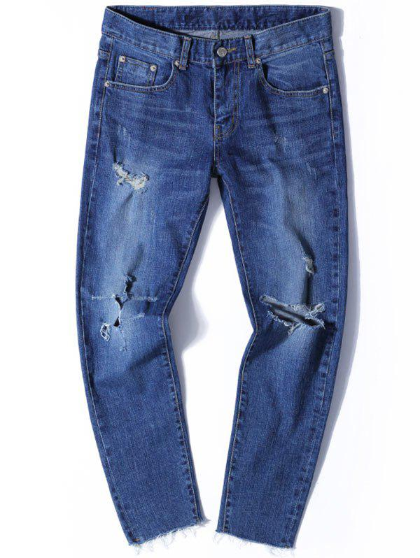 Tapered Fit Zip Fly Jeans with Knee Rips - DENIM BLUE 32