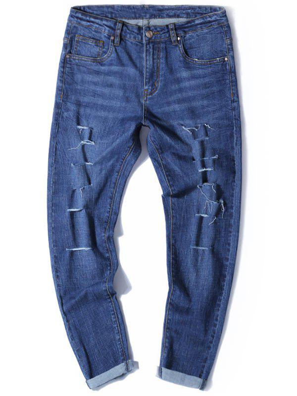 Tapered Fit Zip Fly Jeans avec Multi Rips - Bleu Toile de Jean 36