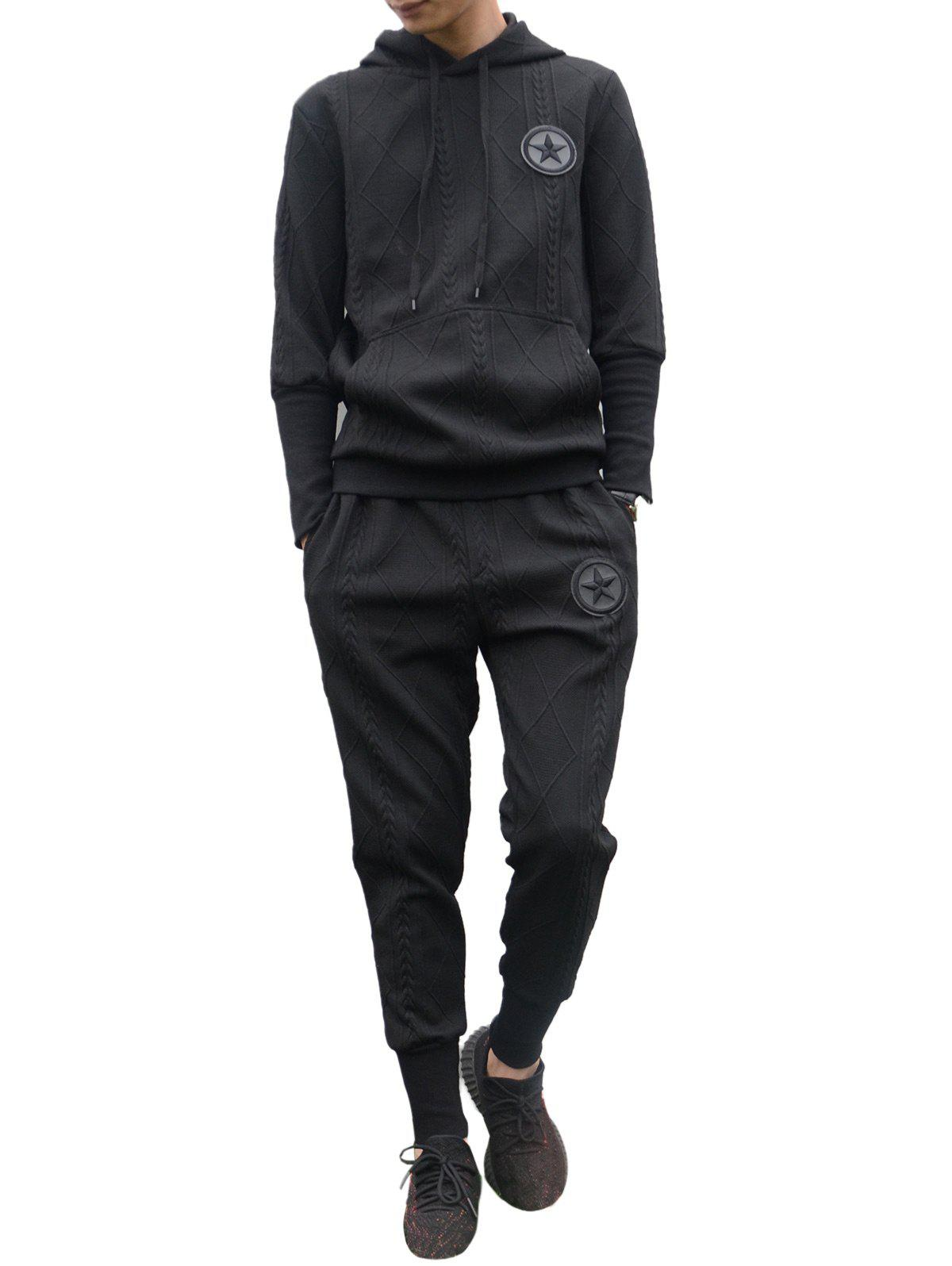 Geometric Emboss Star Embroidered Hoodie Twinset - BLACK L