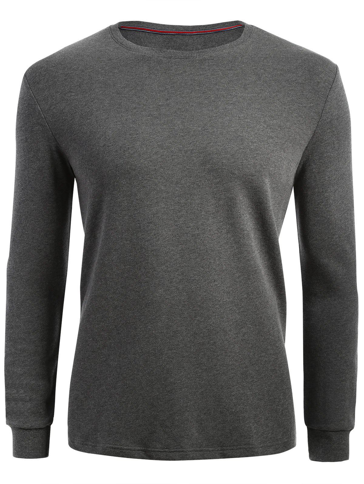 Plain Cuffed Long Sleeve T-shirt - HEATHER GRAY XL