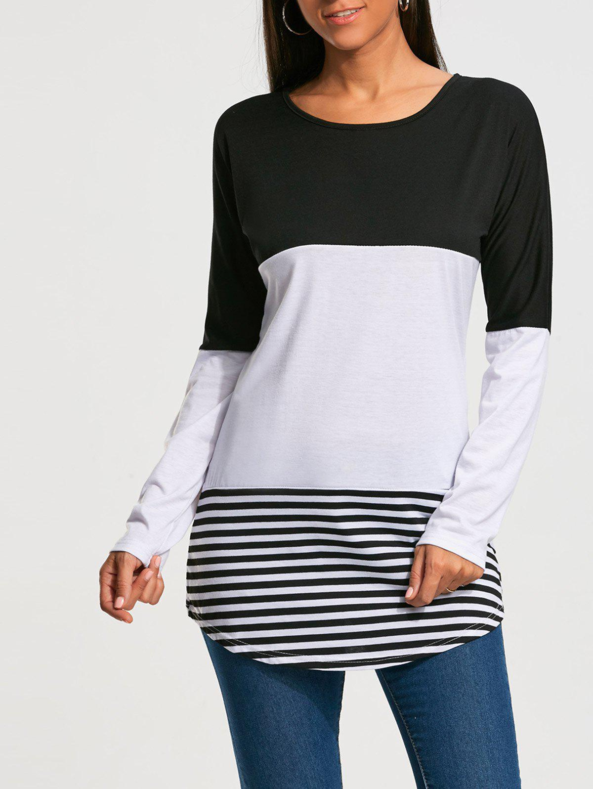 Long Sleeve Color Block Striped T-shirt - BLACK L