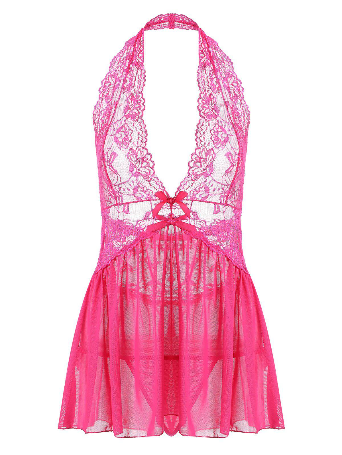 Halter Lace Backless Sheer Babydoll - Eau Rouge 2XL