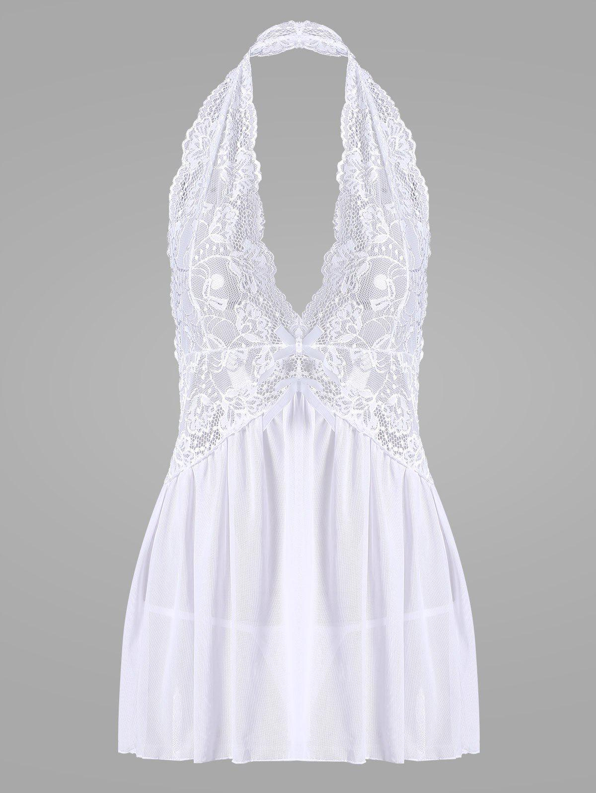 Halter Lace Backless Sheer Babydoll - Blanc 2XL