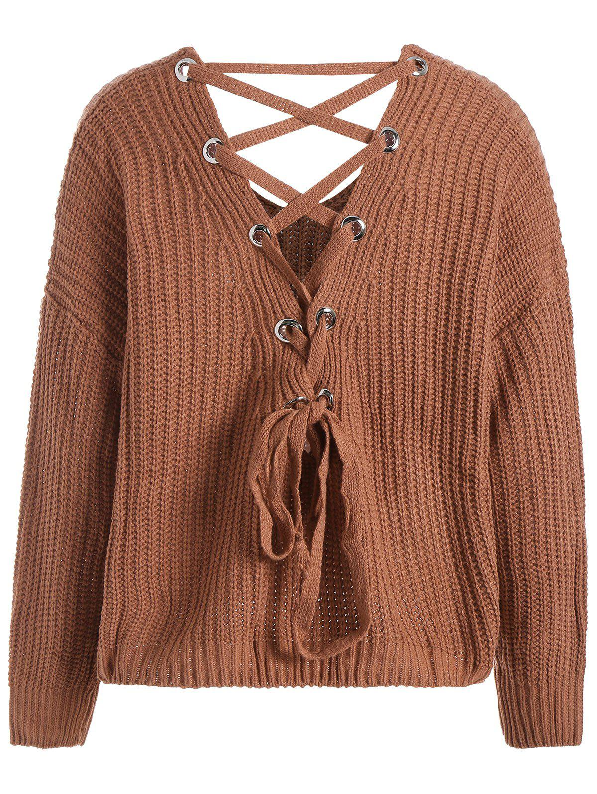 2017 Lace Up Drop Shoulder Plus Size Sweater LIGHT BROWN ONE SIZE ...