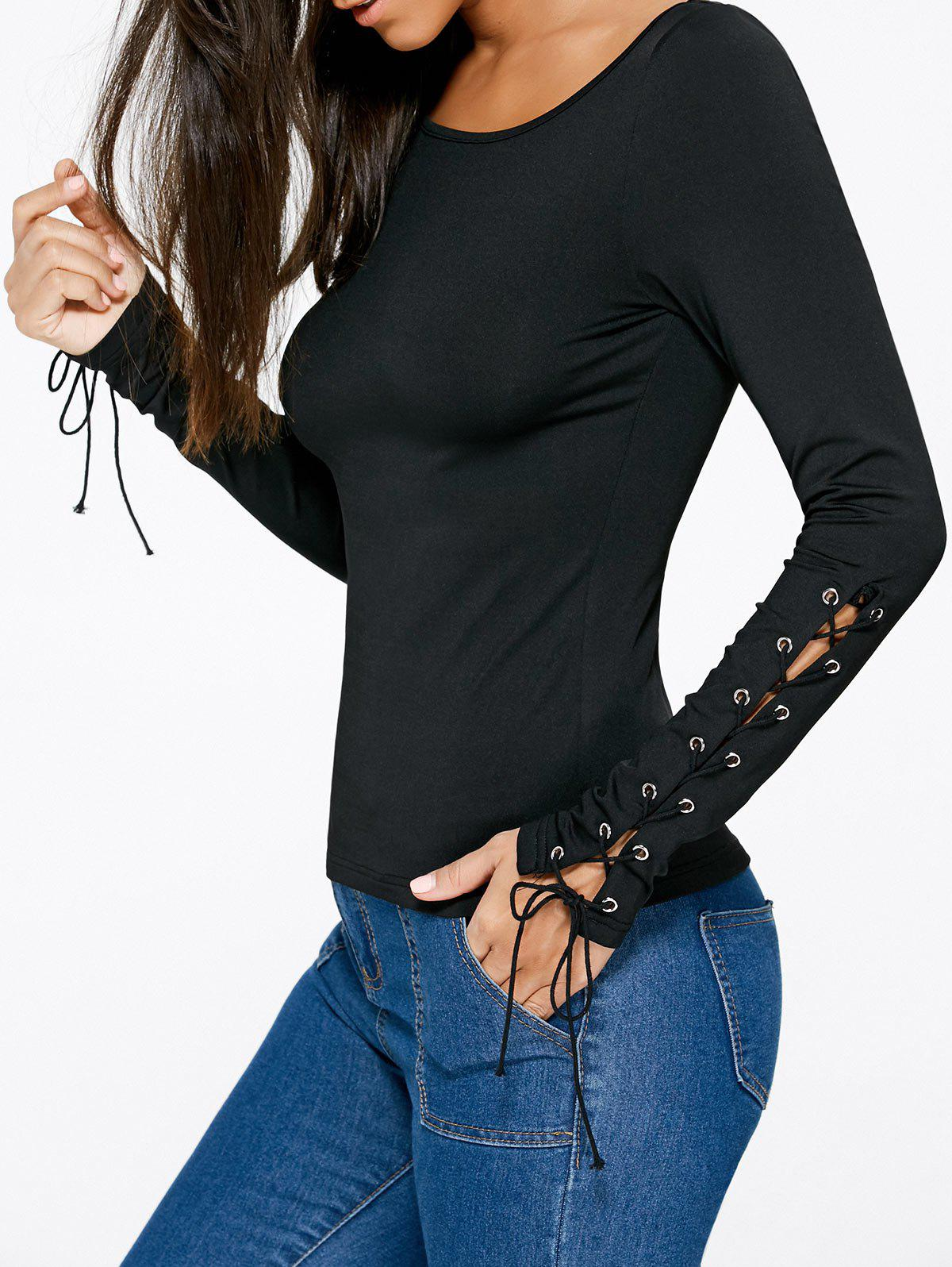 Lace Up Fitted Top - BLACK 2XL