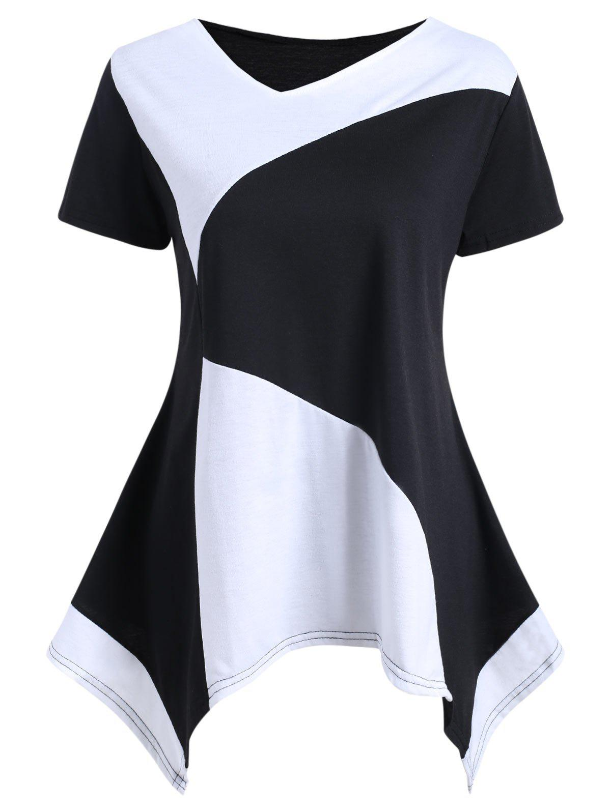 Color Block Asymmetrical Tunic T-shirt - BLACK L