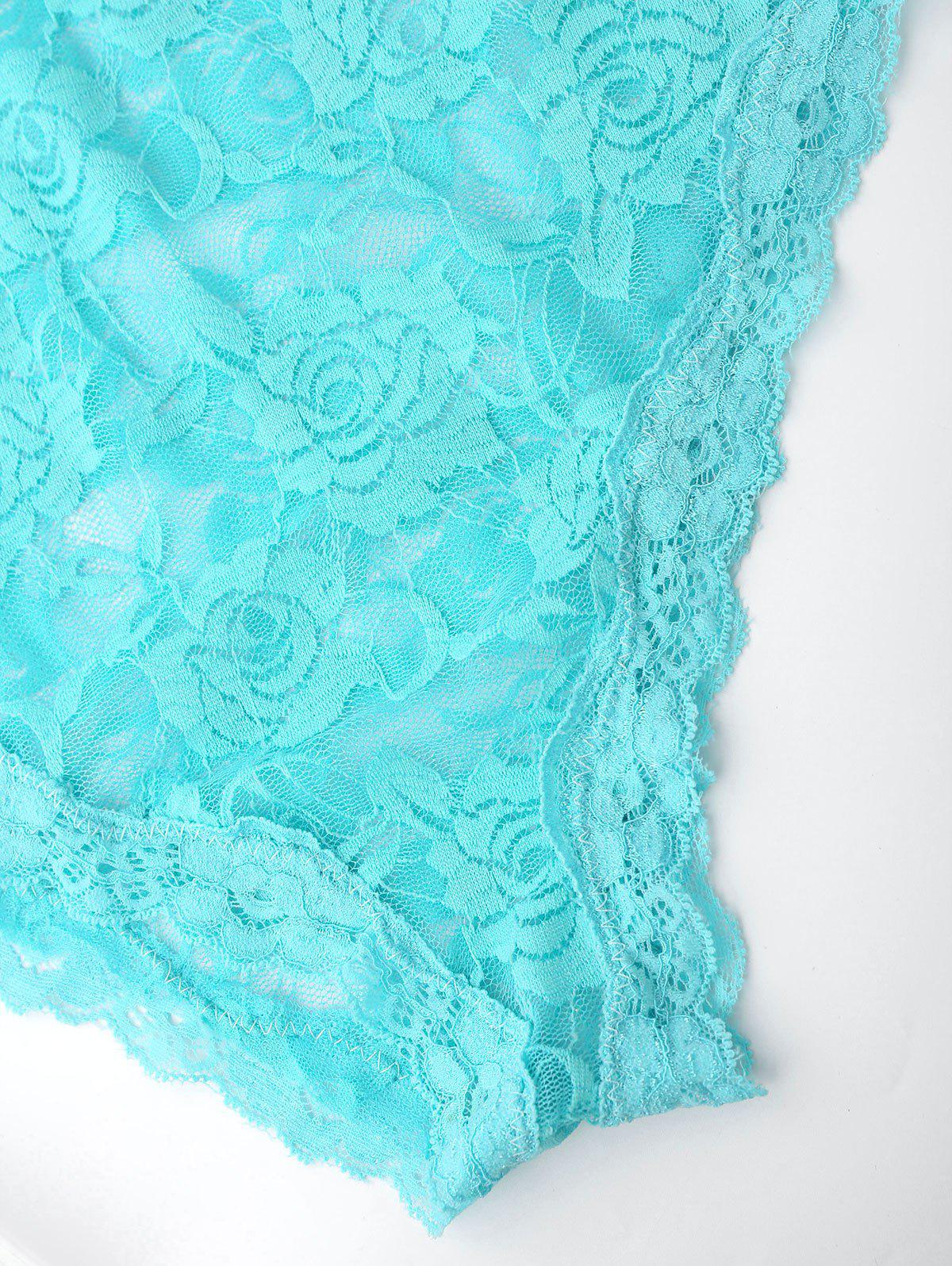 Spaghetti Strap Lace Sheer Teddy - Turquoise 2XL