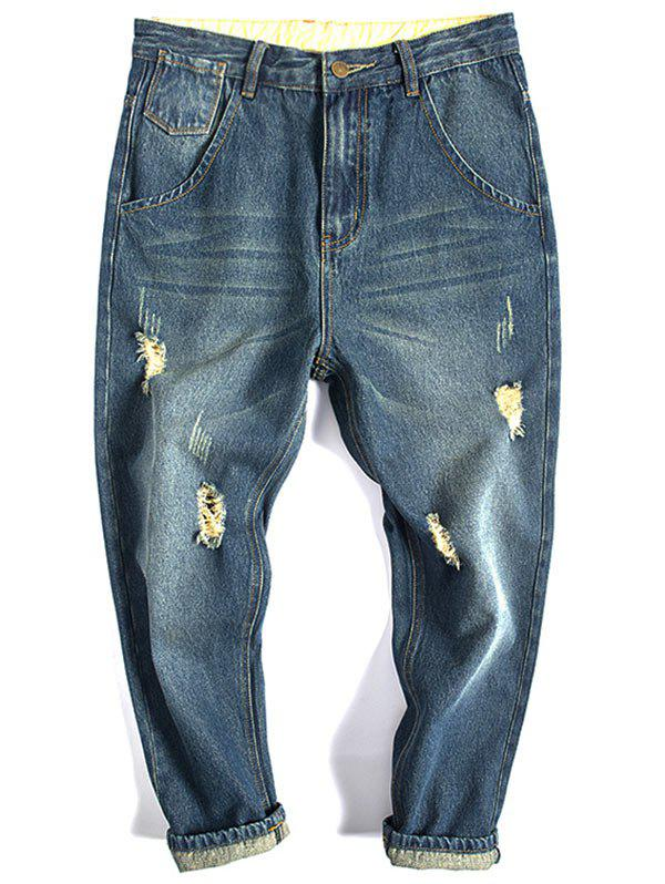 Tapered Fit Flap Pocket Distressed Jeans - DENIM BLUE 32