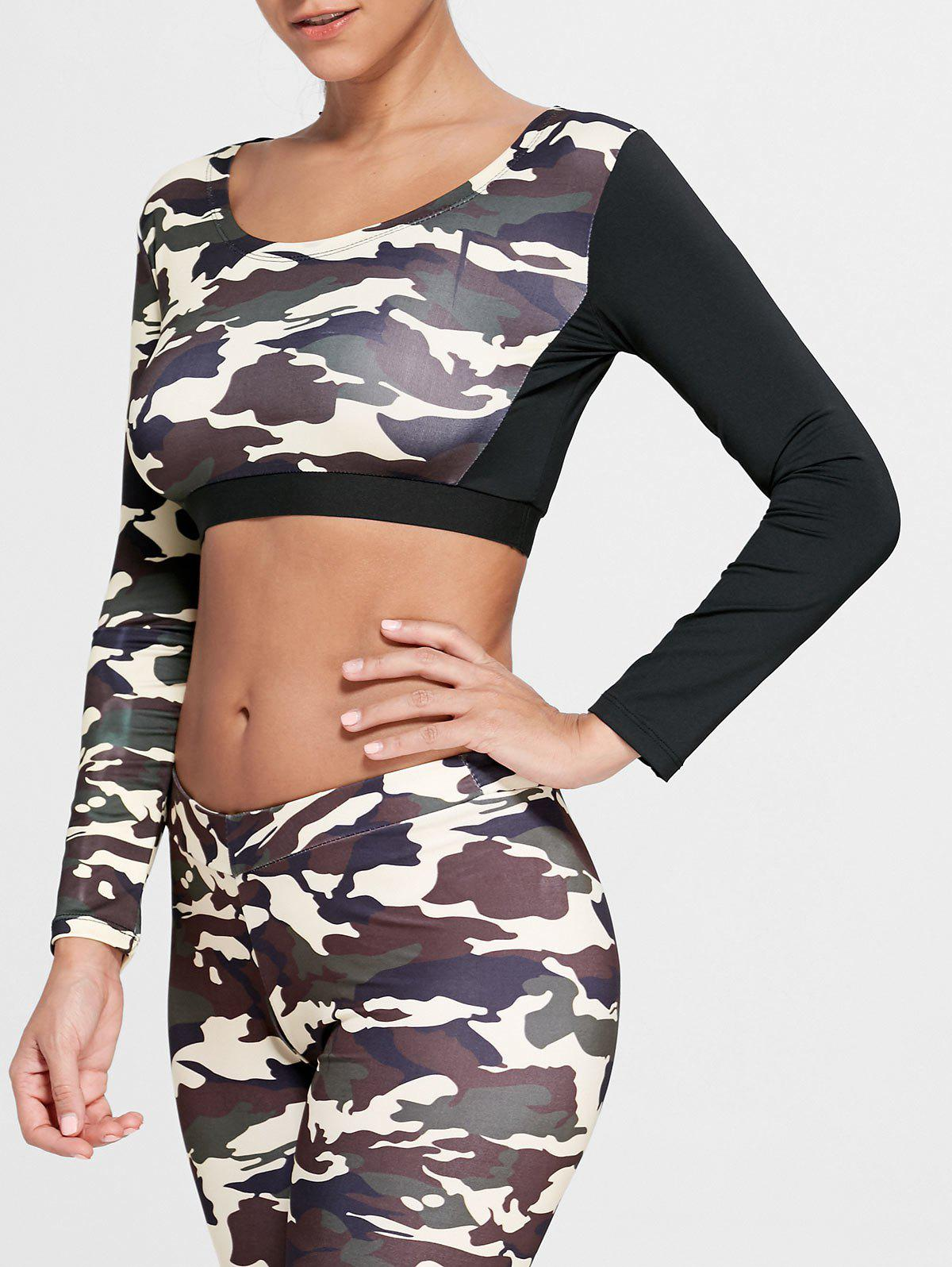 Sports Camouflage Printed Long Sleeve Crop Tee - DUN XL