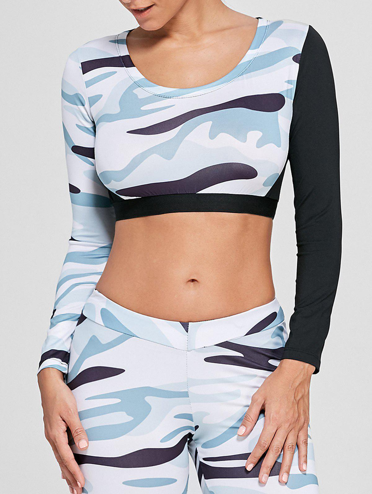 Sports Camouflage Printed Long Sleeve Crop Tee - WHITE L