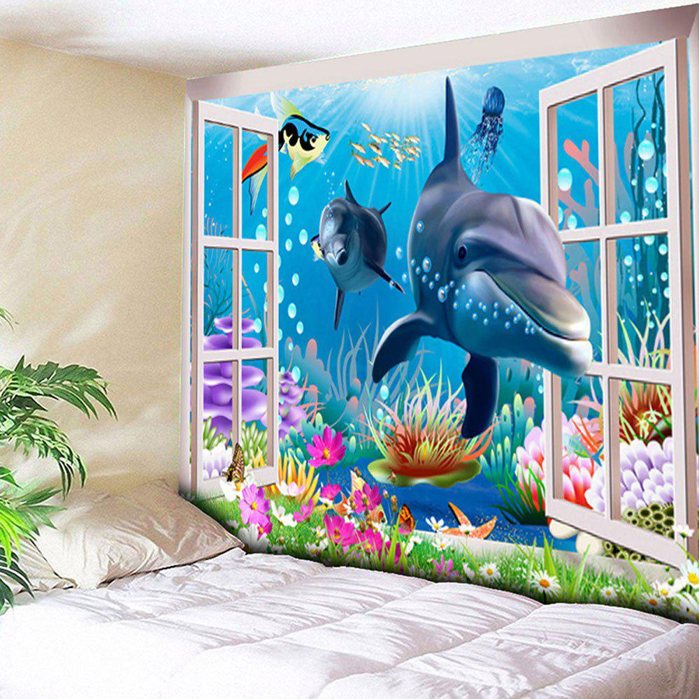 Sea World Dolphin Print Wall Art Tapestry - BLUE W79 INCH * L59 INCH