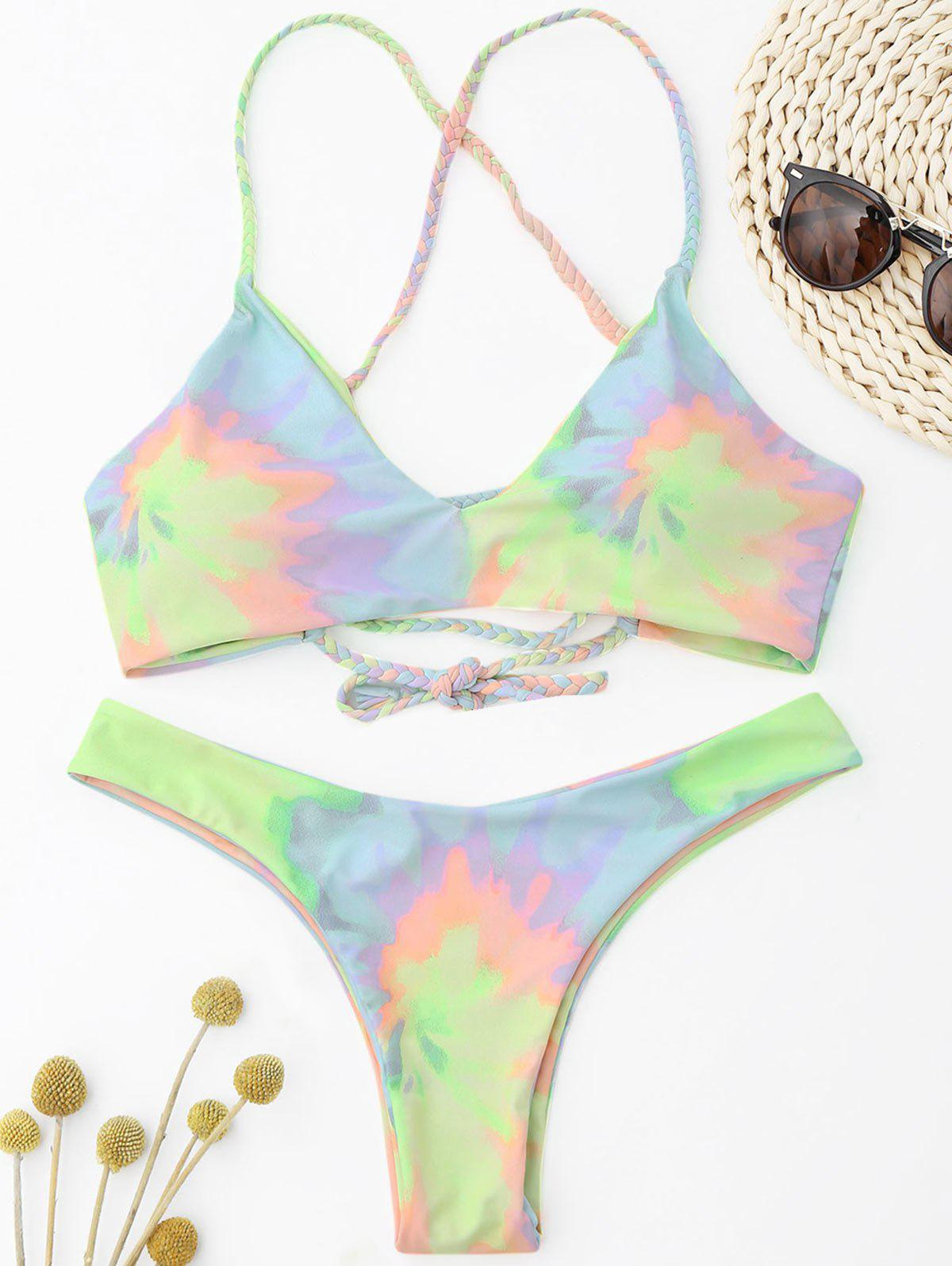 Tie Dye Braided Criss Cross Bikini Set - LIGHT YELLOW M