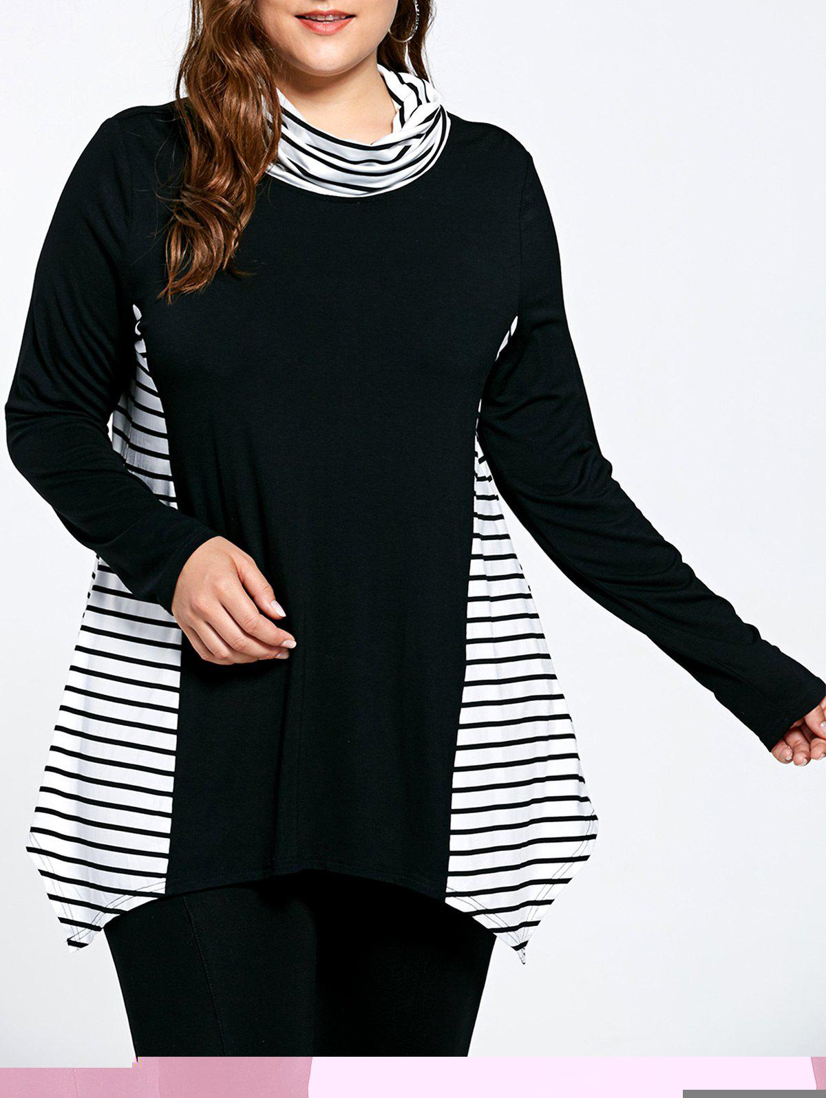 Stripe Panel Plus Size Turtleneck Asymmetric T-shirt - COLORMIX 5XL