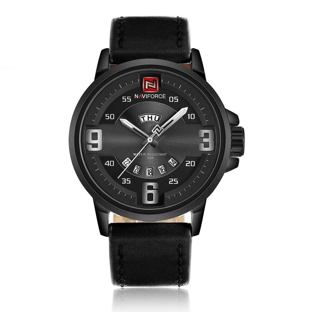 NAVIFORCE 9086 Faux Leather Date Luminous Watch - [