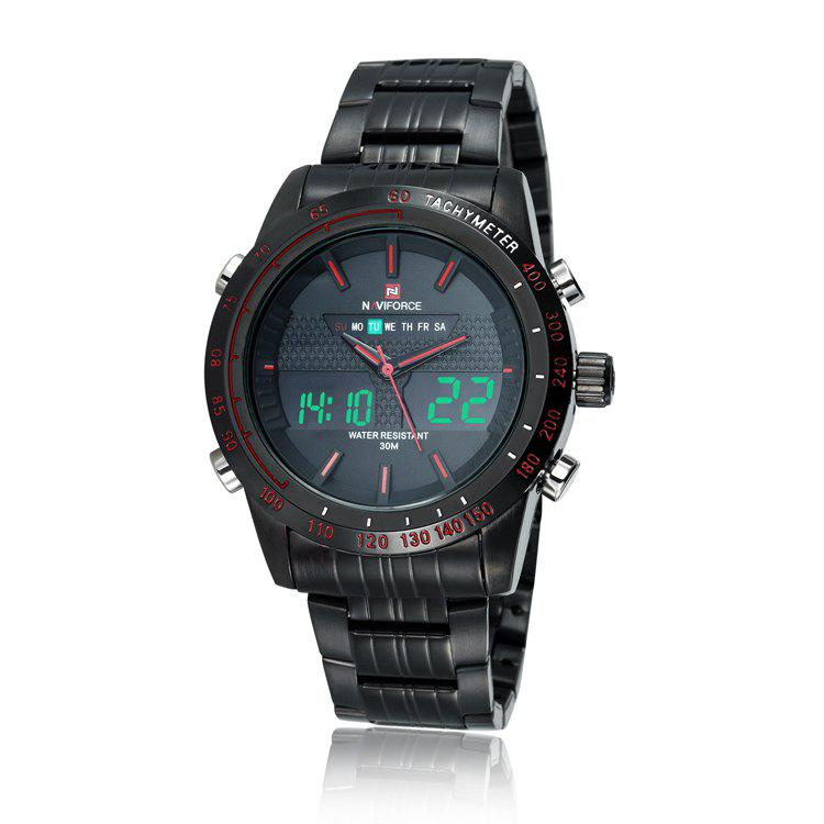 NAVIFORCE 9024 Tachymeter Luminous Analog Digital Watch - RED