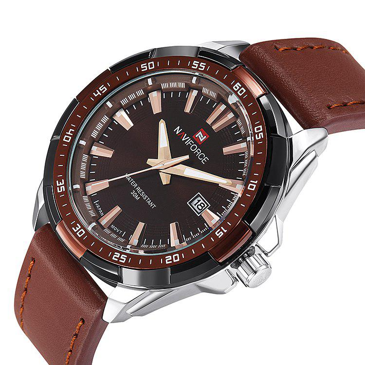 NAVIFORCE 9056 Faux Leather Luminous Date Watch - BROWN LEATHER BAND/WHITE DIAL