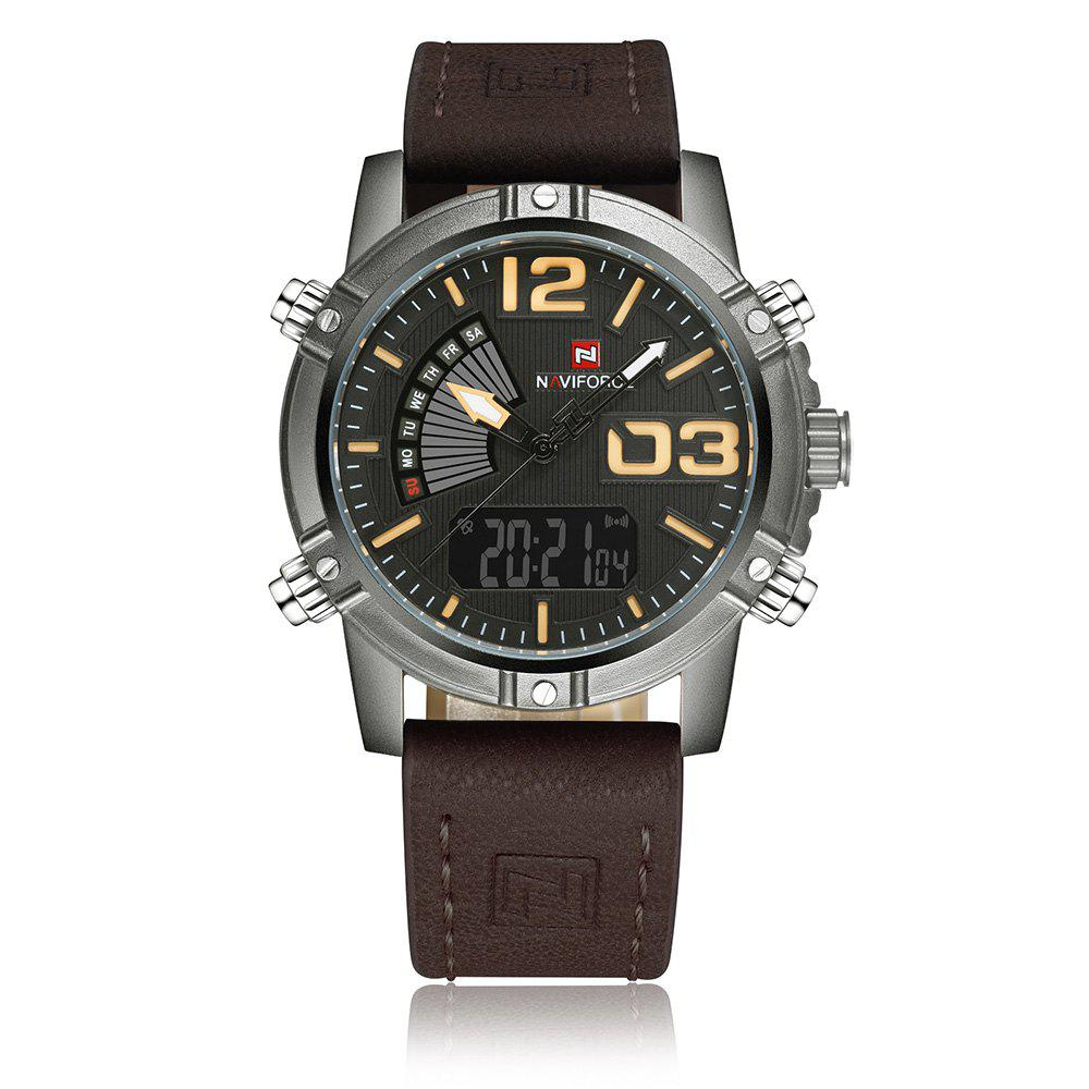 NAVIFORCE 9095 Faux Leather Luminous Analog Digital Watch - DEEP BROWN