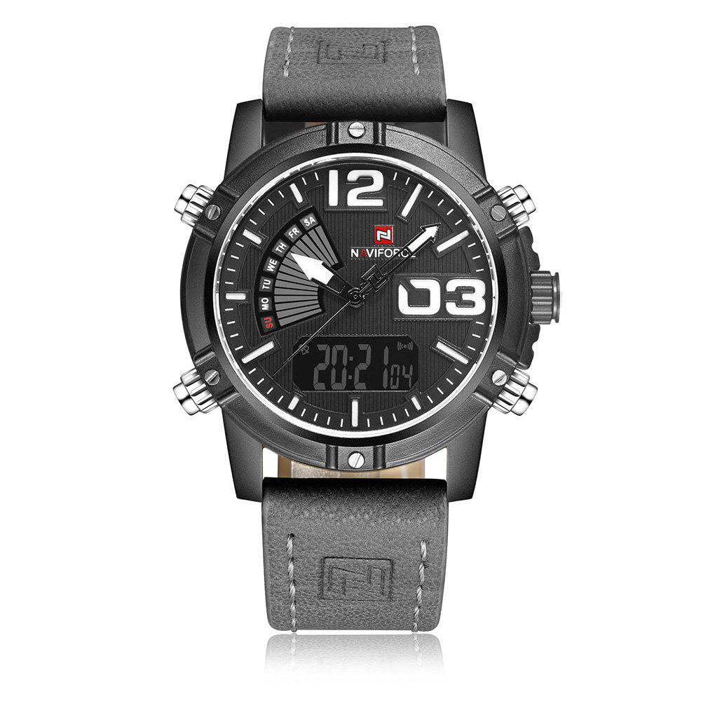 NAVIFORCE 9095 Faux Leather Luminous Analog Digital Watch - GRAY