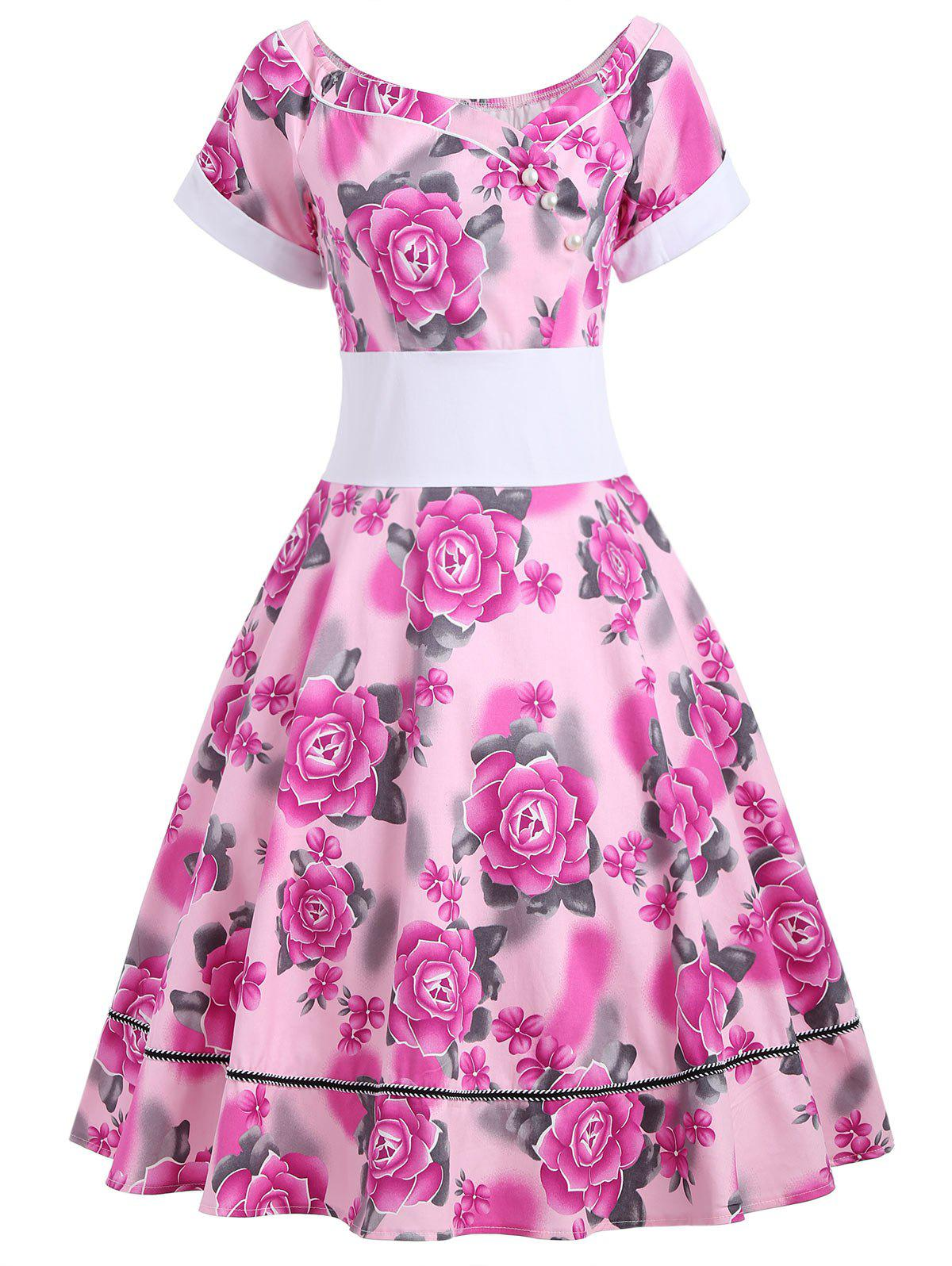 Flower Print Empire Waist 50s Swing Dress - TUTTI FRUTTI 2XL