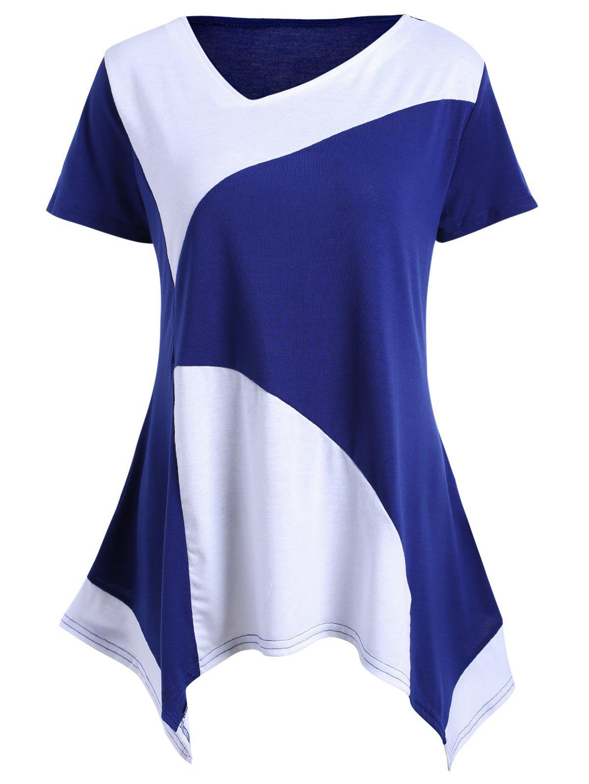 Color Block Asymmetrical Tunic T-shirt - BLUE L