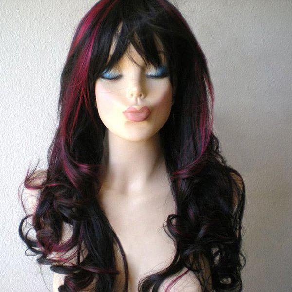 Long Side Bang Wavy Highlight Colormix Synthetic Wig