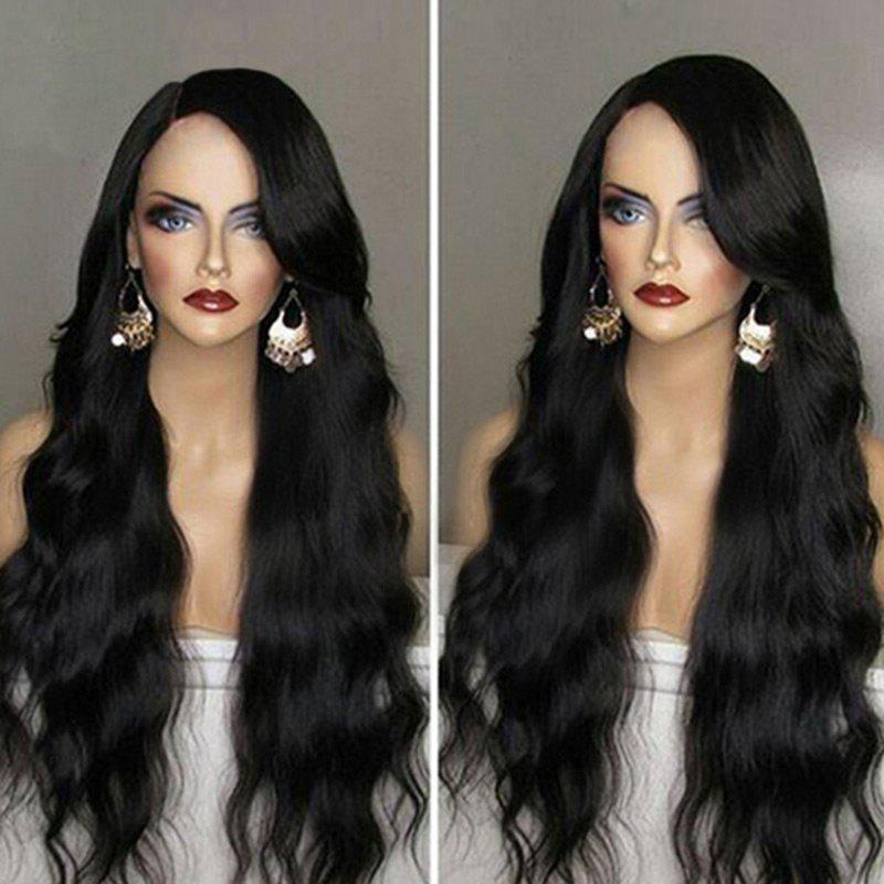 Side Parting Long Wavy Synthetic Wig - BLACK