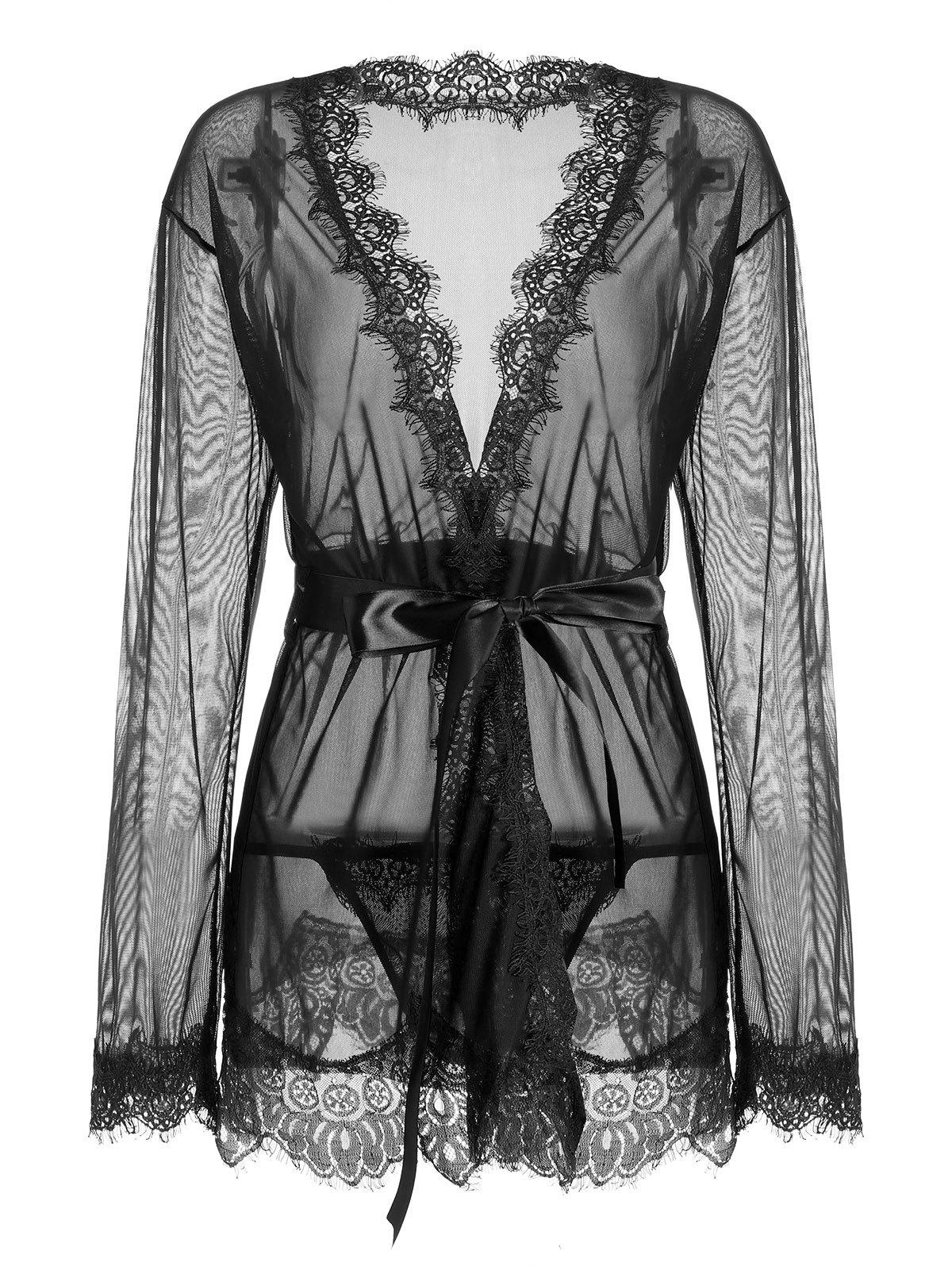 Lace Trim Sheer Wrap Kimono Dress vertical striped frill trim wrap dress