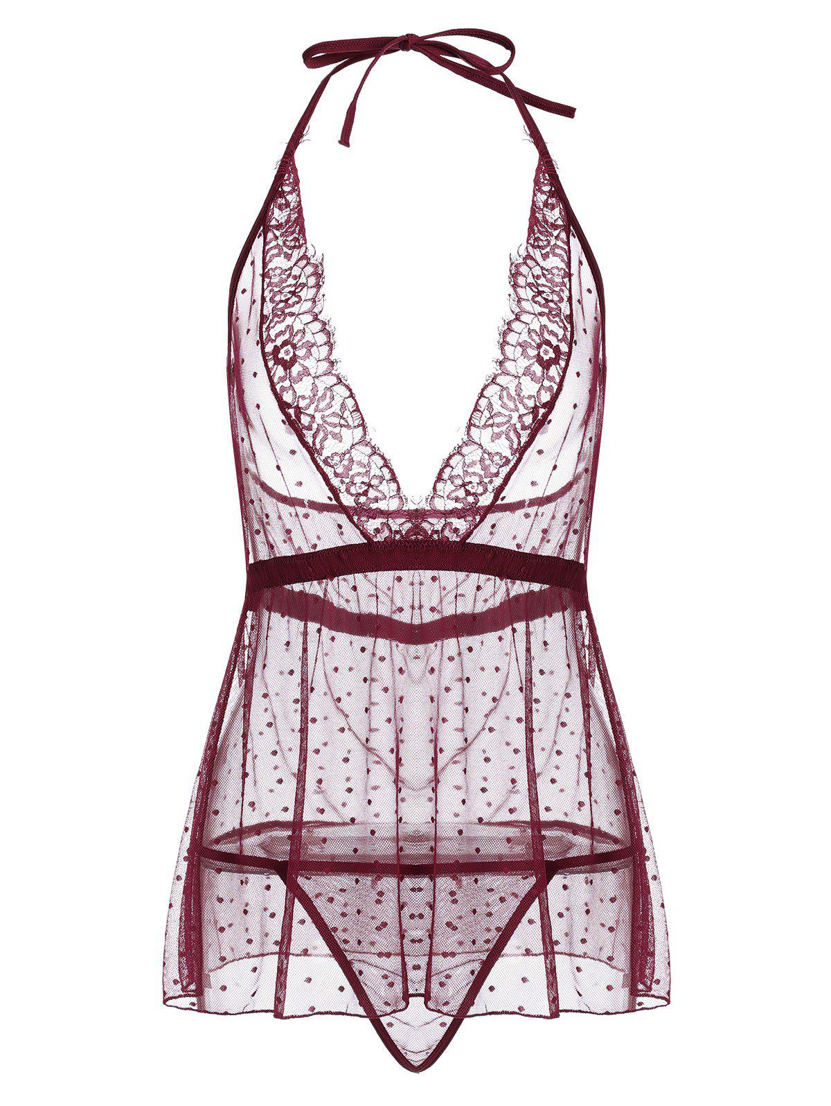 Lace Trim Mesh Sheer Babydoll - Rouge vineux M
