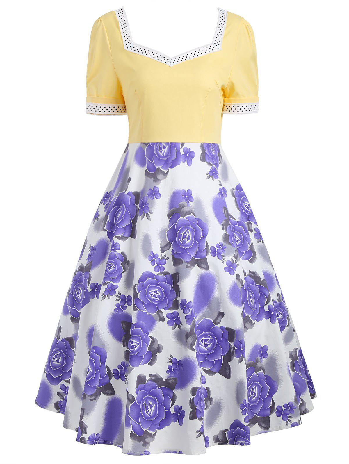 Sweetheart Neck Flower Print 50s Swing Dress - Jaune 2XL