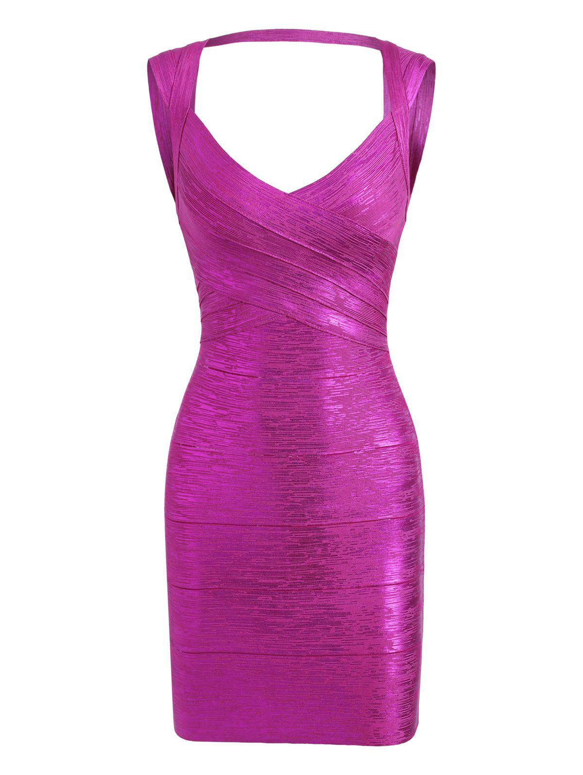 Bronzing Sweetheart Neck Cut Out Bandage Dress - SANGRIA M