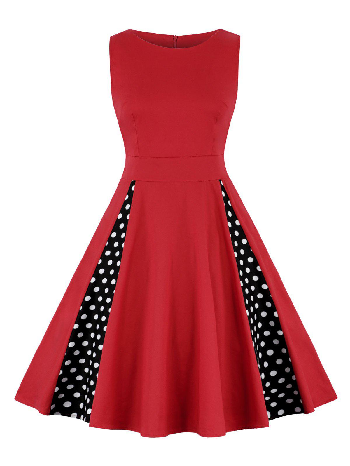 Polka Dot A Line High Waist Dress - RED 2XL