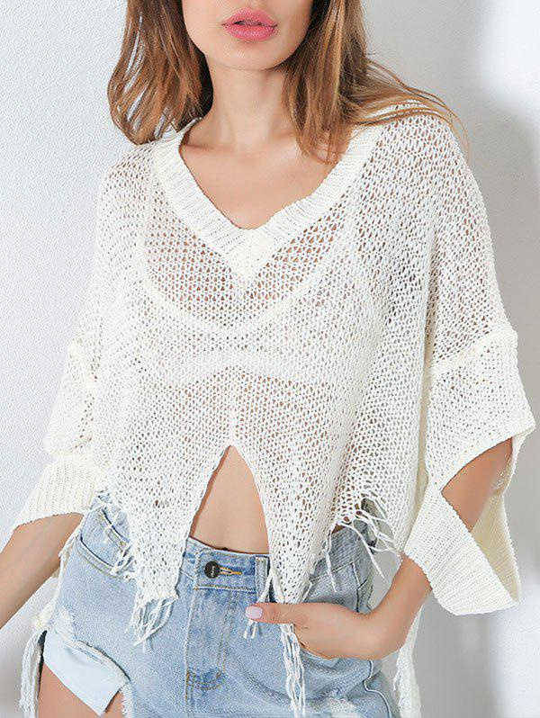 V Neck Distressed Hollow Out Short Sweater - [