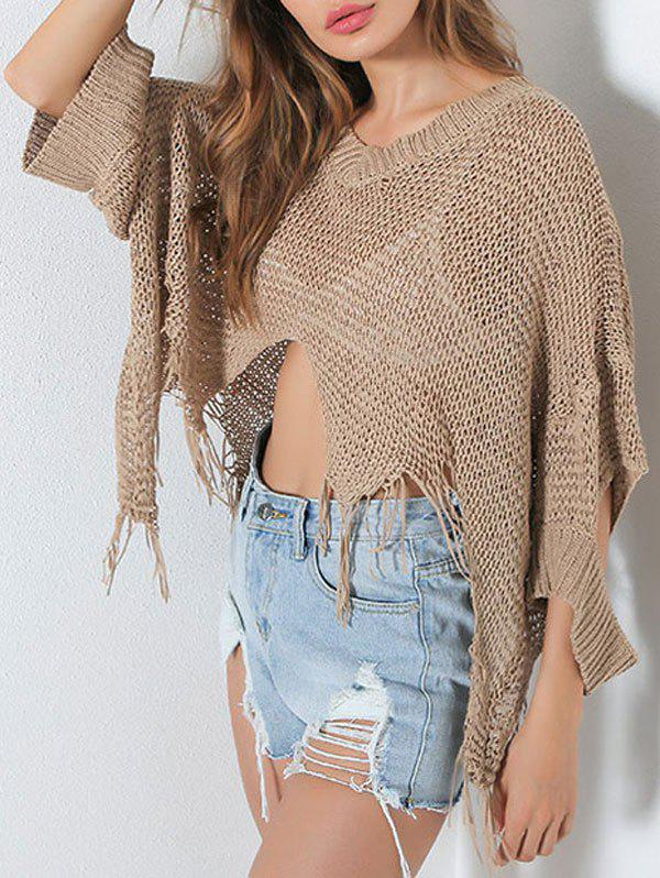 V Neck Distressed Hollow Out Short Sweater - Kaki ONE SIZE