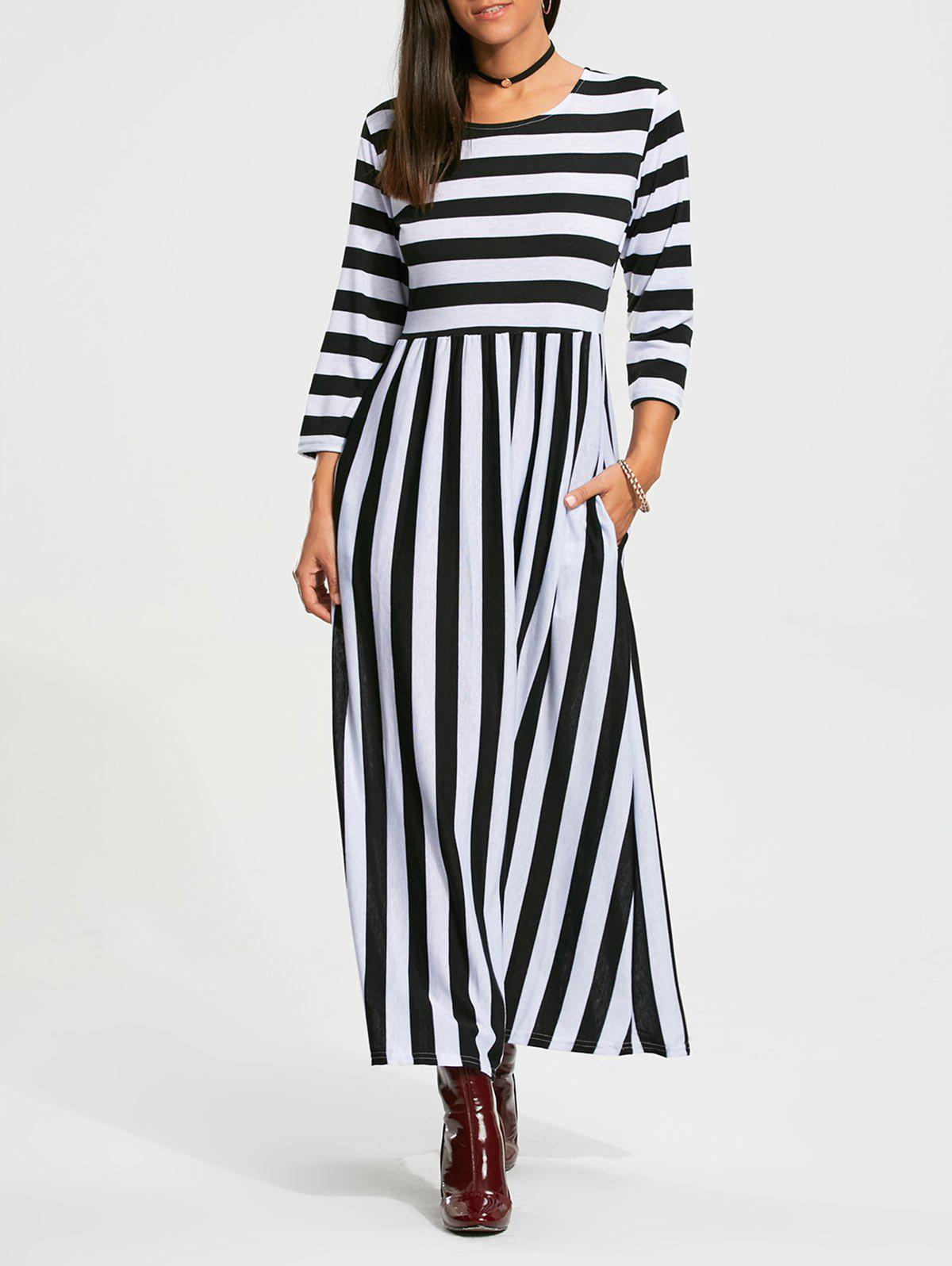 Stripe High Waist Maxi Dress with Pocket - Noir L