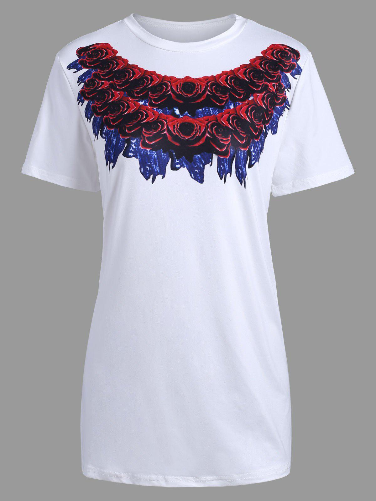 Long 3D Rose Print Short Sleeve T-shirt - WHITE S