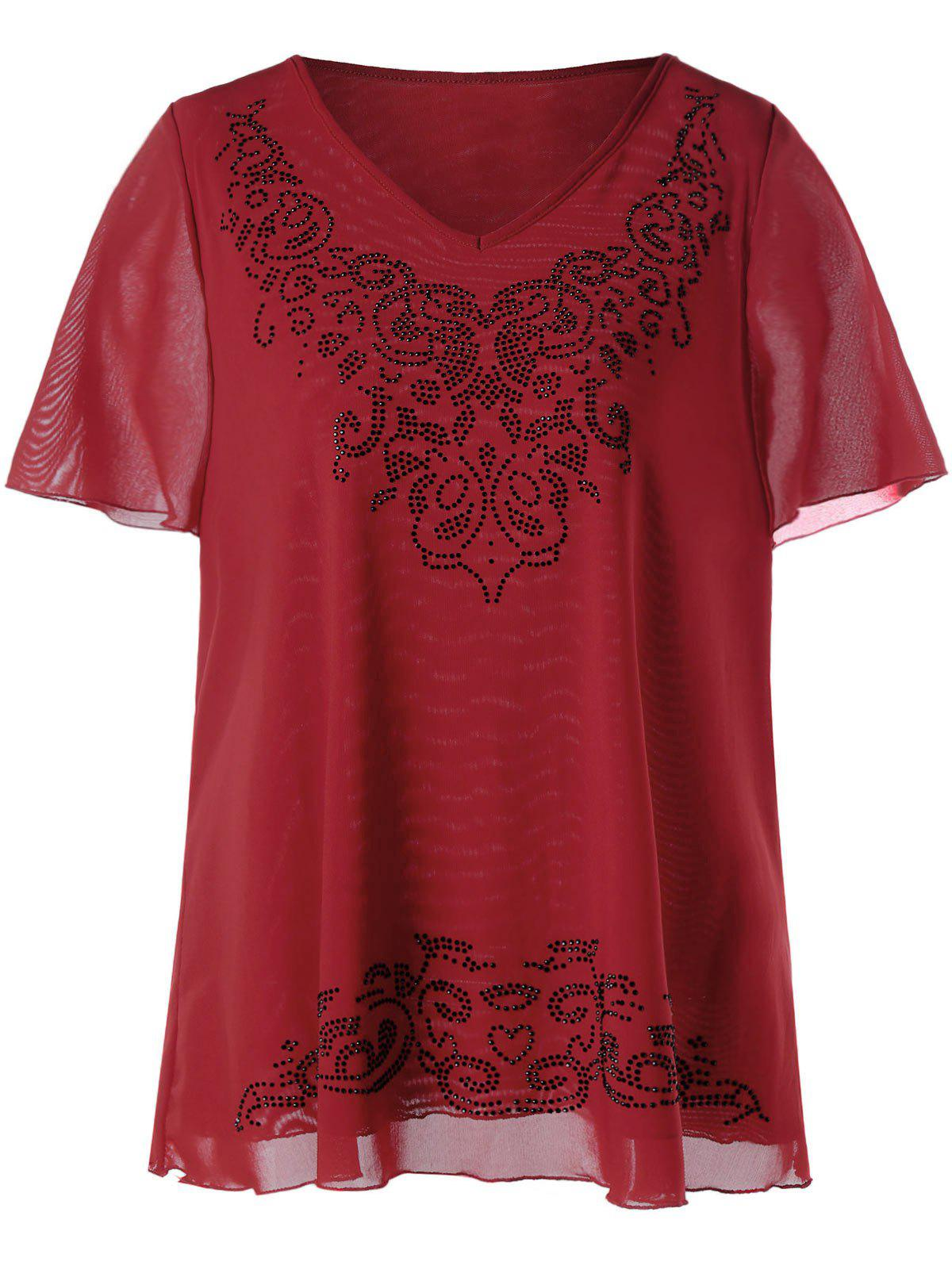 Top en mousseline de soie Embellished V-neck Top - Rouge 5XL