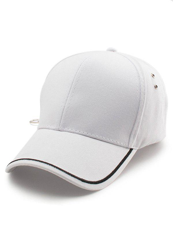Line Embroidered Baseball Cap - WHITE
