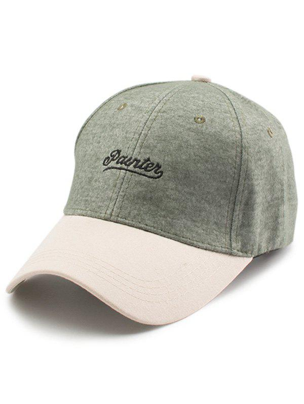 Letters Embroidery Two Tone Baseball Cap - GREEN