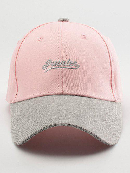 Letters Embroidery Two Tone Baseball Cap - LIGHT PINK