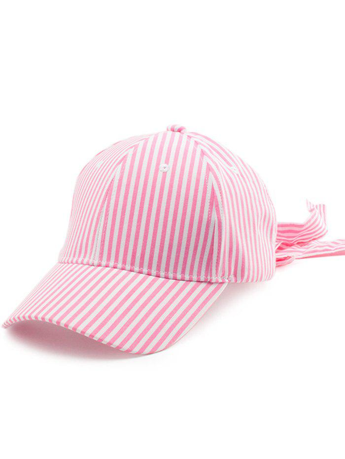 Bowknot Long Tail Embellished Stripe Baseball Cap - ROSE PÂLE