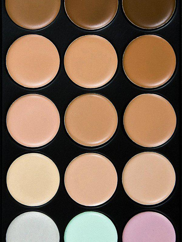 15 Colours Cream Concealer Palette and Foundation Brush - multicolor