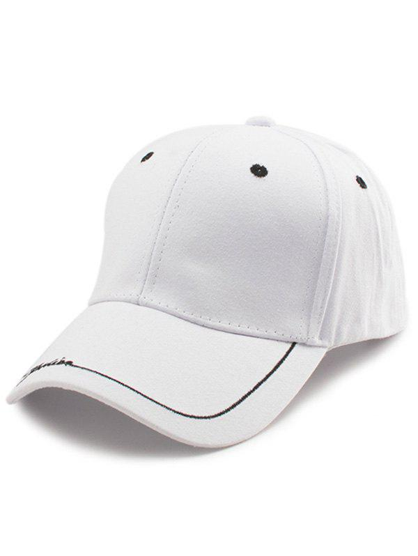 Letters Line Embroidered Baseball Cap - WHITE