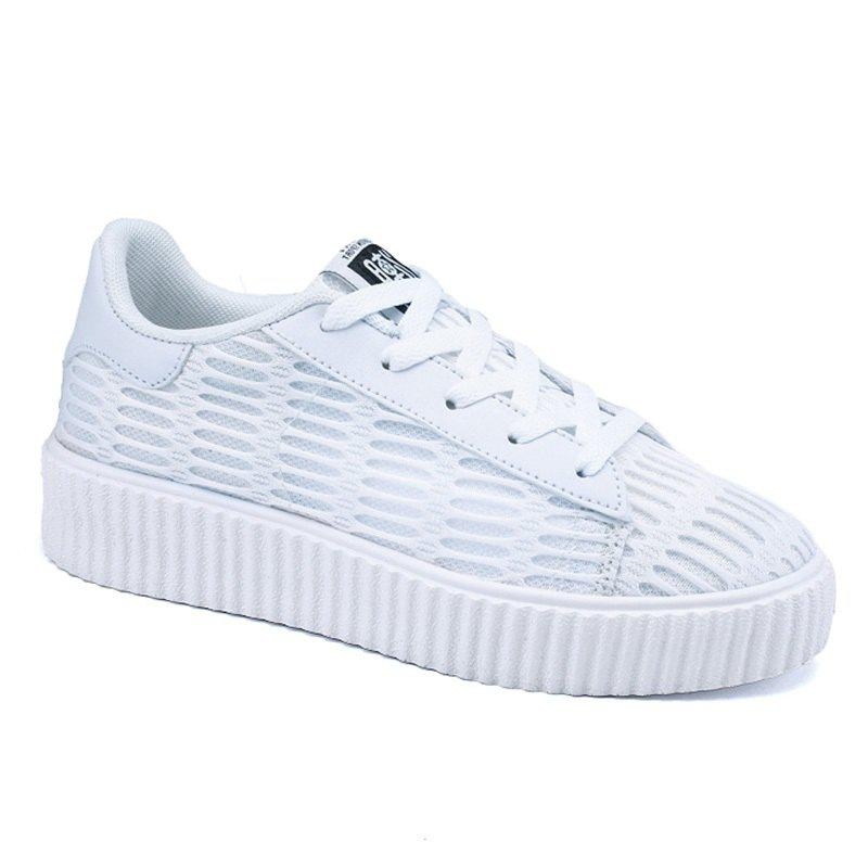 Lace Up Breathable Mesh Athletic Shoes - WHITE 37