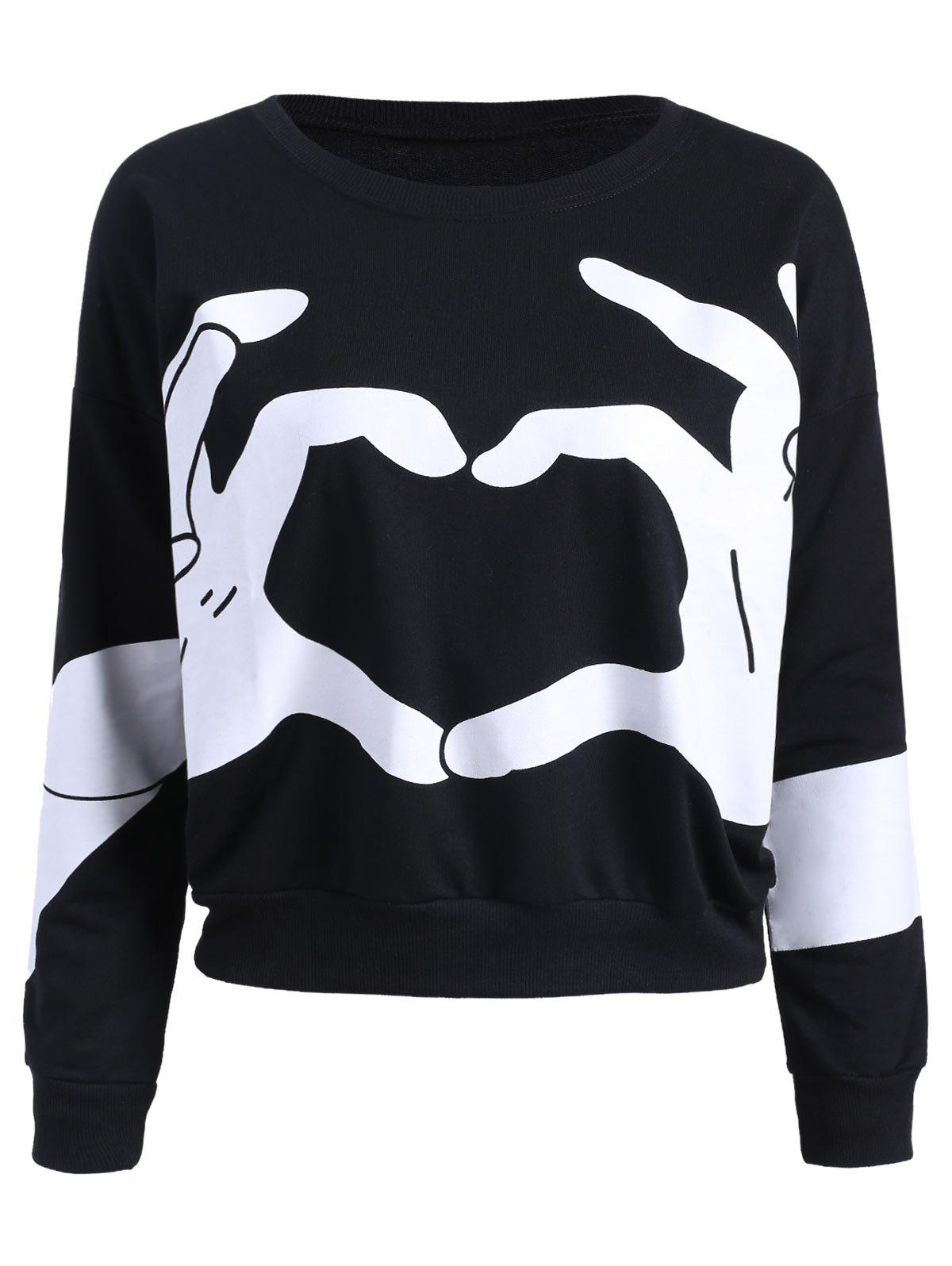 Crew Neck Gesture Print Sweatshirt - BLACK ONE SIZE