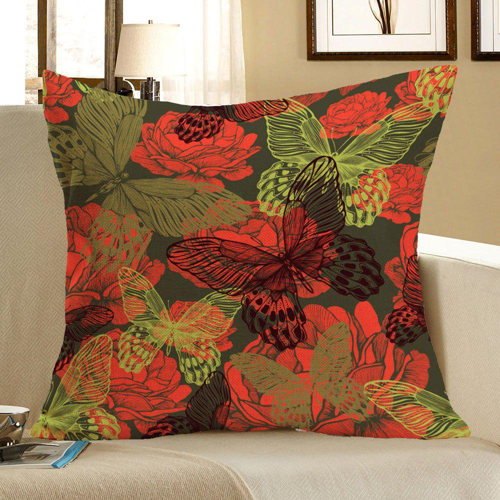 Butterfly Flowers Printed Linen Decorative Pillow Case - COLORFUL W18 INCH * L18 INCH