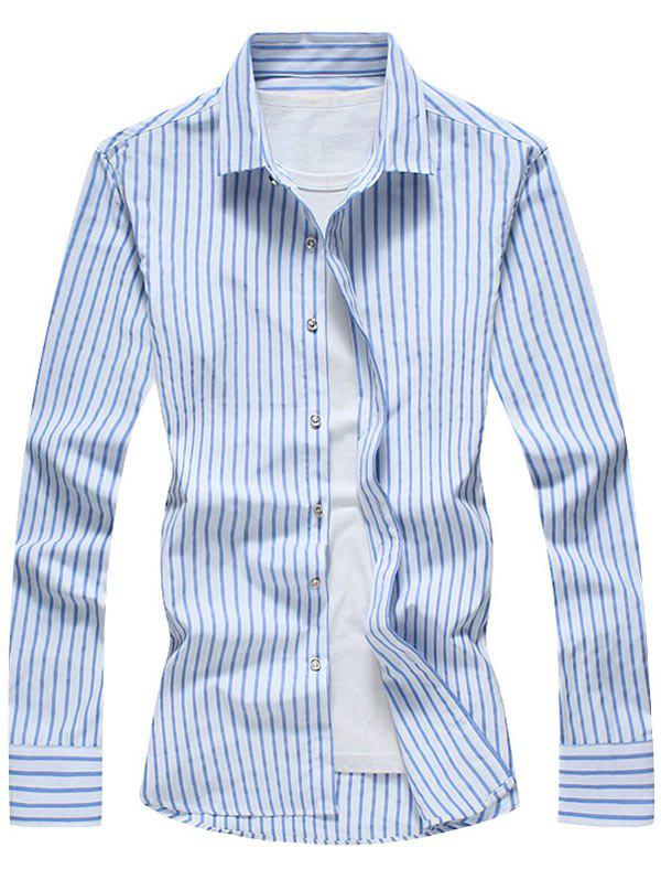 Casual Vertical Stripe Long Sleeve Shirt - BLUE 2XL