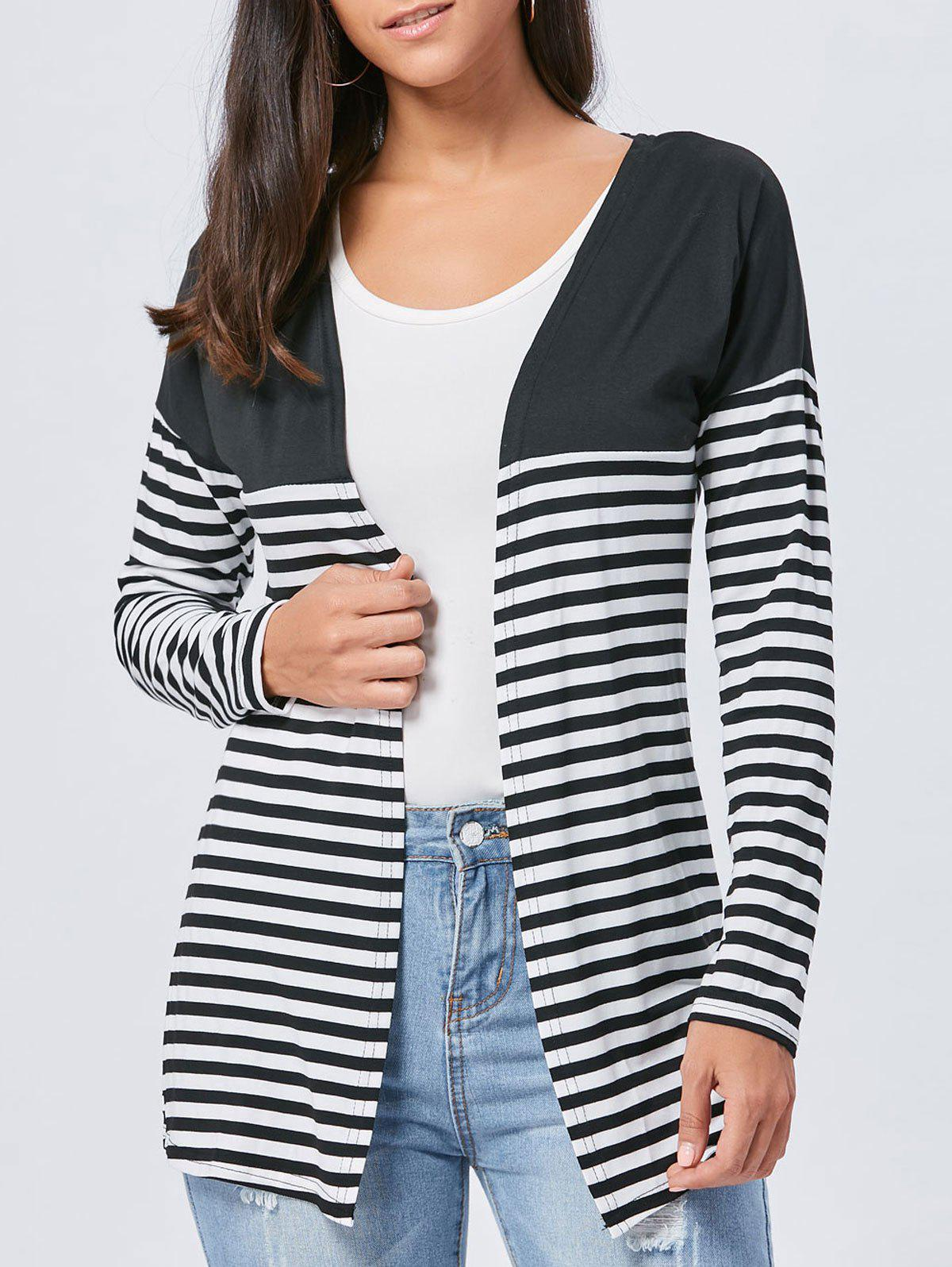 Two Tone Striped Panel Long Cardigan - BLACK S