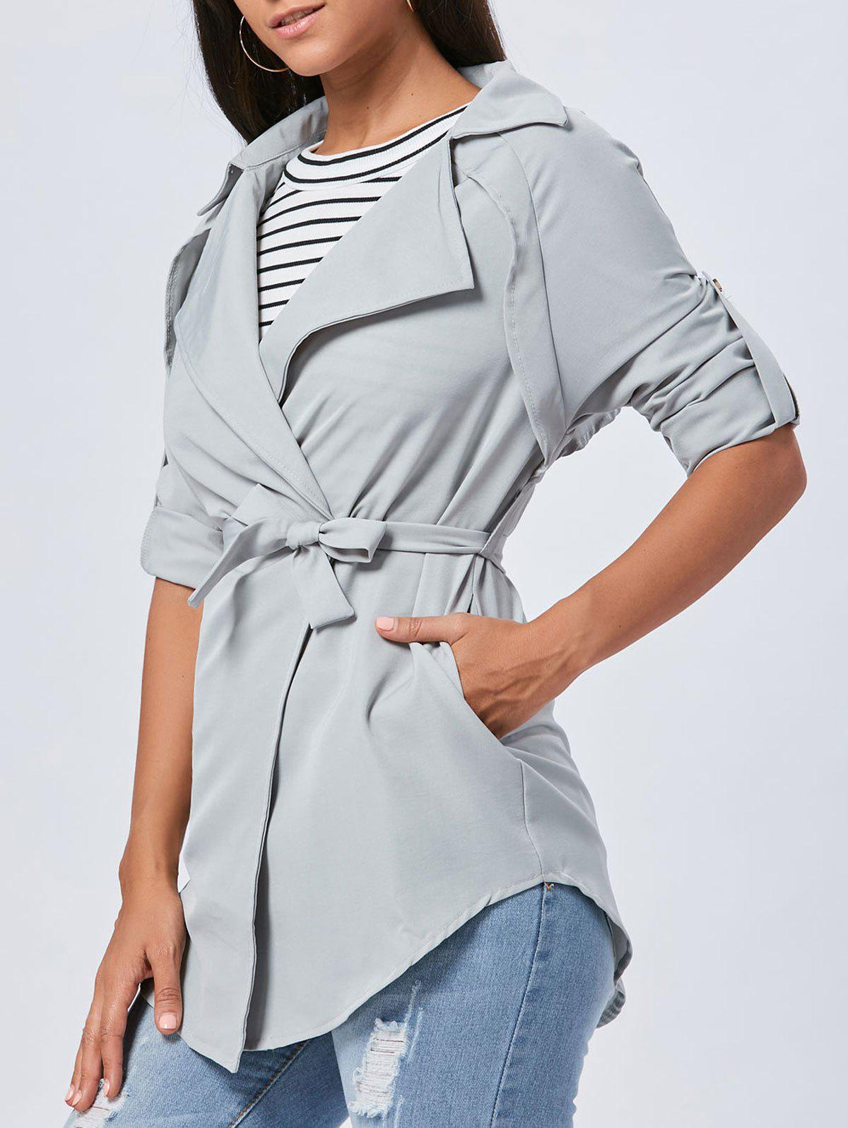 Manteau Long Lapel Wrap - gris L