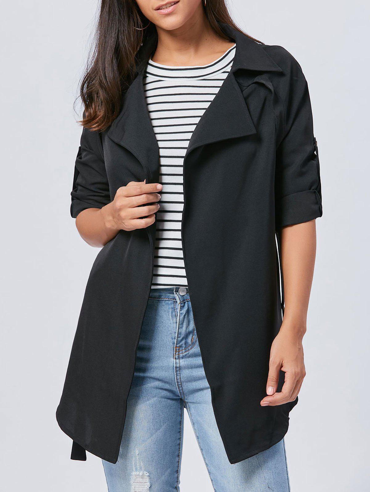 Long Lapel Wrap Coat - BLACK M
