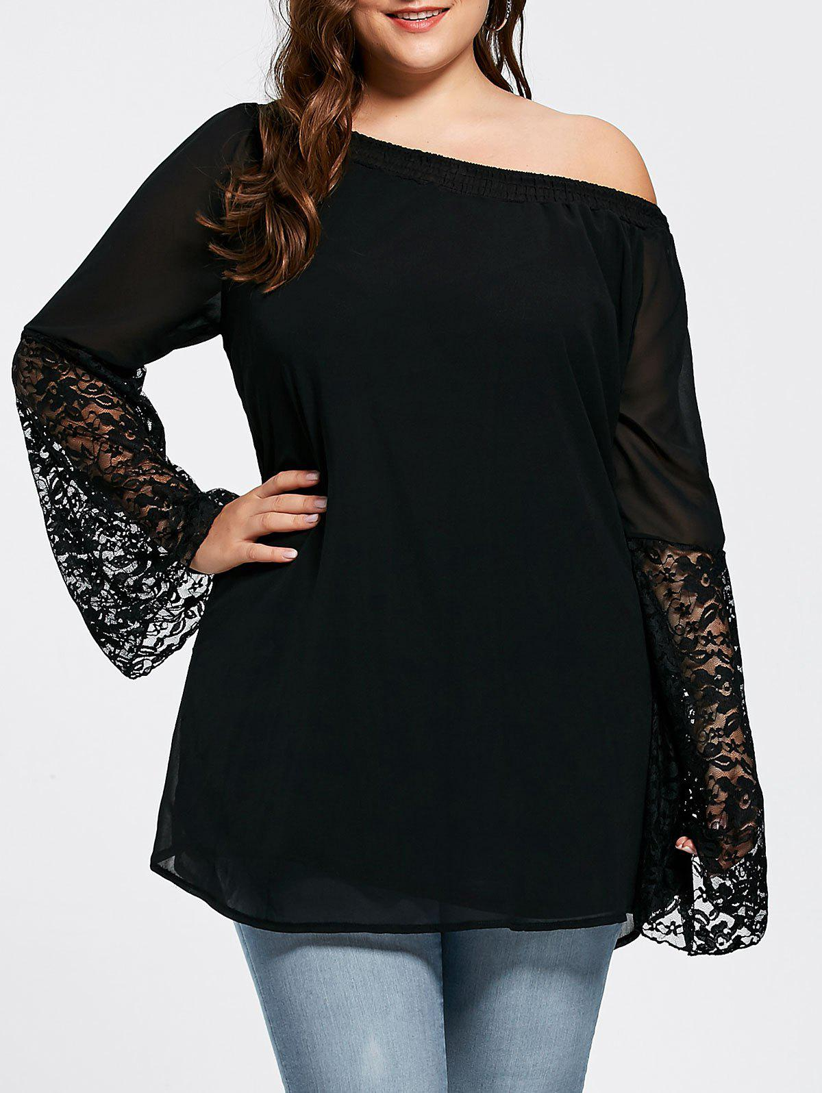 Lace Insert Bell Sleeve Plus Size Tunic Top bell sleeve lace insert mini party dress